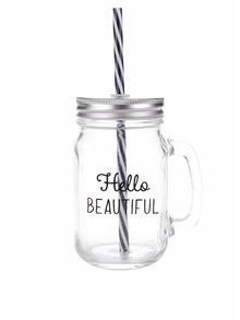 Priehľadný pohár so slamkou Sass & Belle Hello beautiful