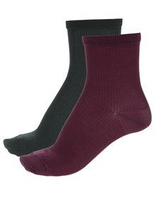 Sada dvou párů ponožek ve vínové a tmavě zelené barvě Pieces Polly
