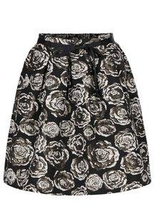 Černá květovaná sukně ve zlaté barvě VERO MODA Daisy
