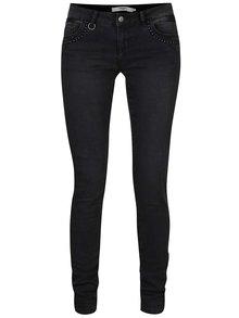 Tmavě šedé slim džíny se zdobenými kapsami VERO MODA Five