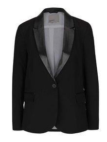 Čierne sako s koženkovými detailmi VERO MODA Scarlett