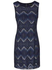 Rochie albastru închis cu auriu din dantelă Mela London