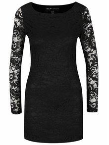 Čierne čipkované šaty s dlhými rukávmi Mela London