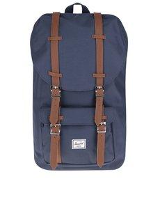 Tmavomodrý batoh s hnedými popruhmi Herschel Little America 25 l