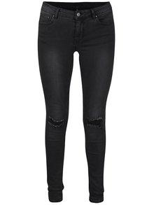 Tmavě šedé slim džíny s potrhaným efektem VILA Commit