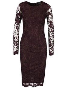 Vínové čipkované šaty s dlhým rukávom AX Paris