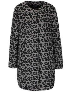 Černo-šedý kabát s leopardím vzorem Dorothy Perkins