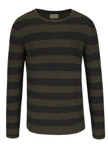 Kaki pruhovaný sveter Selected Homme Henry