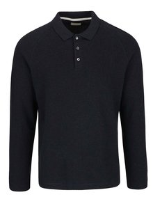 Tmavomodré tričko s dlhým rukávom a golierom Selected Homme Casual