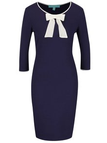 Modré šaty s krémovou mašľou Fever London Michelle
