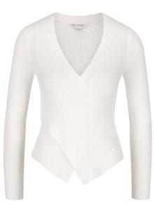Krémový trblietavý sveter s prekladaným výstrihom Miss Selfridge