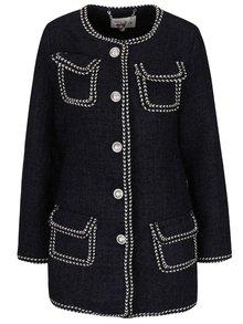 Palton albastru Darling Cece cu buzunare și detalii crem