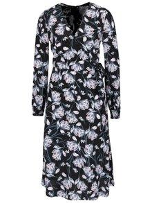 Krémovo černé květované šaty s překládaným výstřihem Miss Selfridge