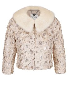 Jachetă bej Darling Monroe cu model floral și paiete
