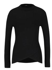 Čierne tričko so stojačikom a dlhým rukávom TALLY WEiJL