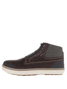 Hnědé pánské kožené kotníkové boty v semišové úpravě Geox Mattias