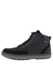 Černé pánské kožené kotníkové boty Geox Mattias