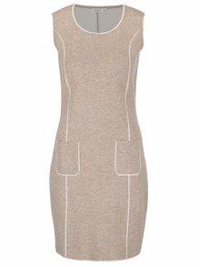 Béžové svetrové šaty bez rukávov Lavand