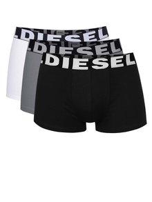 Súprava troch boxeriek v sivej, bielej a čiernej farbe Diesel