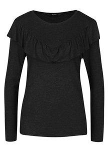 Bluză negru melanj cu volan ONLY Flounces