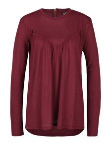Vínové volnější tričko s dlouhým rukávem VERO MODA Penny