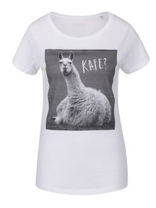 Bílé dámské tričko ZOOT Originál Lama kafe