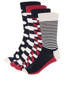Sada čtyř párů červeno-modro-krémových unisex ponožek Happy Socks Big Dot Gift Box