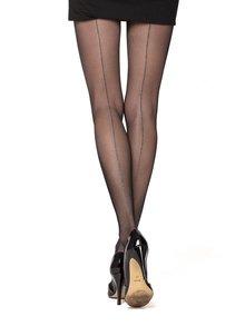 Černé punčochové kalhoty s proužkem ve stříbrné barvě Oroblu Riga Lux