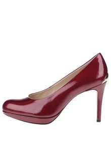 Pantofi roșii Högl din piele cu detaliu auriu