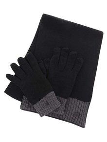 Šedo-černý dárkový set šály a rukavic Dice