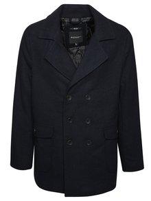 Tmavě modrý pánský vlněný kabát Broadway Corel