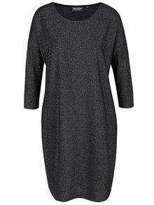 Černé třpytivé oversize šaty s 3/4 rukávy Broadway Vissia