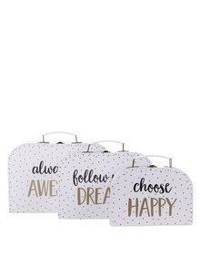 Sada tří puntikatých kufříků v bílé barvě Sass & Belle