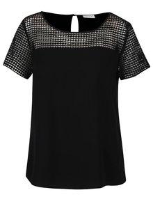 Bluză neagră cu detalii din dantelă și mâneci scurte VILA Sommi