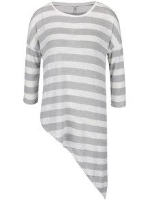 Krémové sivé pruhované asymetrické tričko s 3/4 rukávmi ONLY Kirsten
