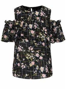 Čierna kvetovaná blúzka s prestrihmi na ramenách Miss Selfridge