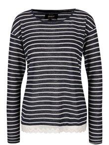 Krémovo-modré pruhované tričko s čipkou ONLY Gina