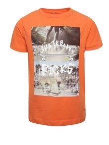 Oranžové klučičí triko s barevným potiskem name it Dim