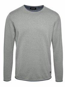 Modro-sivý melírovaný sveter s okrúhlym výstrihom ONLY & SONS Garson