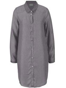 Svetlosivé rifľové košeľové šaty VERO MODA Daisy