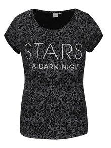 Čierne dámske vzorované tričko s nápisom QS by s. Oliver