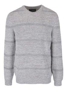 Svetlosivý melírovaný pruhovaný sveter Jack & Jones Durham