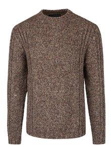 Hnedý melírovaný teplý sveter Jack & Jones Branson