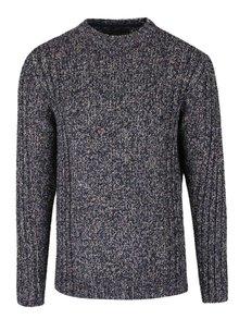 Tmavomodrý melírovaný teplý sveter Jack & Jones Branson