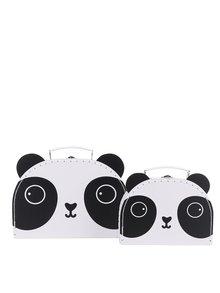 Sada dvou kufříků v bílé barvě s motivem pandy Sass & Belle