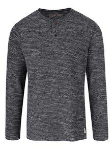 Sivé melírované tričko s gombíkmi a dlhým rukávom Jack & Jones Sebastian