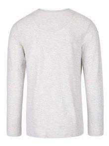 Krémové melírované tričko s gombíkmi a dlhým rukávom Jack & Jones Sebastian