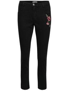 Černé džíny s nášivkou květiny Dorothy Perkins