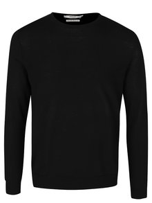 Pulover negru Jack & Jones Premium Mark din lână Merino