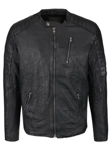 Černá kožená bunda Jack & Jones Richard